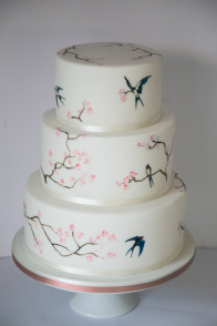 handpainted swallows and cherry blossom cake