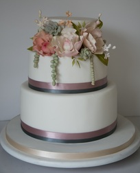 succulents and peonies cake