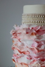 pink ruffles and pearls cake