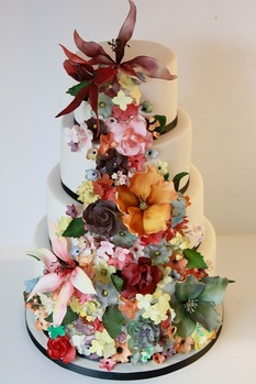 autumnal flowers cake